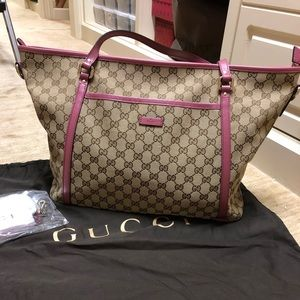 Gucci Canvas tote with pink trim